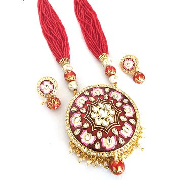 Multi stranded Seed bead chain with Circle pendant Necklace and Stud Earring set with meenakari work