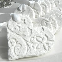 Personalized Imprinted Heart Wedding / Valentines Day / Baptism or Shower Favors Salt Dough Ornaments Set of 10 with ribbon