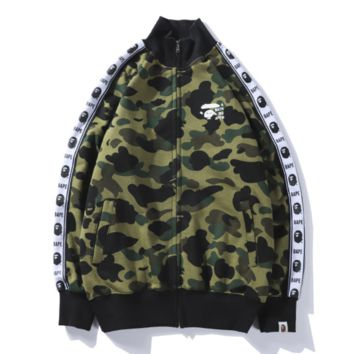 Bape Aape Autumn and winter new style loose leisure string mark print camouflage hooded long sleeve top coat Green