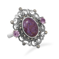Ornate Marcasite and Purple Turquoise Ring