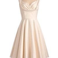 A-line Scoop Sleeveless Knee-lengthSatin Fashion Prom Dresses/Wedding Dress/Cocktail Dress With Pleated Free Shipping