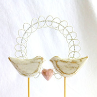 Rustic Wedding Cake Topper,  Shabby Chic Cake Topper with Love Birds, Hand Carved White Wedding or Anniversary Decor