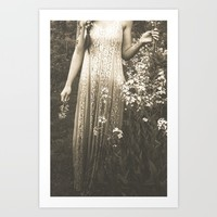 Flower Child 2 Black and White Art Print by Olivia Joy StClaire