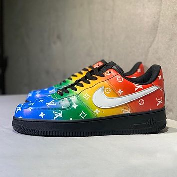Nike Air Force 1 AF1 x LV colorblock logo flat low-top sneakers shoes