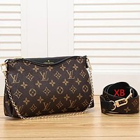 Louis Vuitton Bag LV Crossbody bag Tongue logo Bag Women Fashion Leather Chain Shoulder Bag Satchel Black