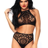2PC Crochet lace halter crop top with strappy back detail