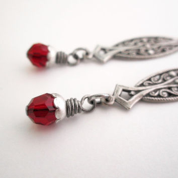 Long Gothic Earrings - Medieval Celtic - Berry Red - Silver Plated - Vampire Halloween