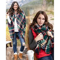 Blanket Scarf Toggle Poncho in Evergreen and Hot Orange