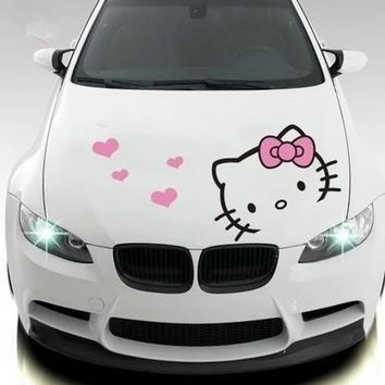 KT cat hello kitty canopy car sticker cartoon cute pull flower car head cover body decoration car sticker-261