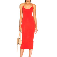 Enza Costa Jersey Back Slit Dress in Blood Orange | FWRD