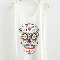 Floral Skull Print Sleeveless Tank Top