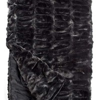 Onyx Mink Couture Faux Fur Throw Blanket by Fabulous Furs
