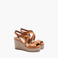 STITCHED LEATHER WEDGE - View all - Shoes - WOMEN - Italy - Massimo Dutti