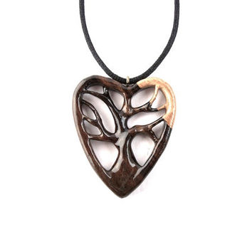 Wooden Heart Necklace, Tree of Life Necklace, Wooden Tree Pendant, Wood Jewelry, Tree of Life Necklace, Hand Carved Pendant, Wood Pendant