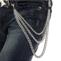 Men's Hip Pop Three Layer Mental Waist Chain 125581