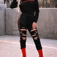 New Black Cut Out Ripped Destroyed Two Piece Hooded Long Sleeve Casual Long Jumpsuit