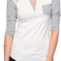 Zine Oatmeal & Grey Henley Shirt