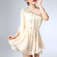 Hot! Fashion New Special Design Women Lady Sexy One Shoulder Loose Short Casual Gown Chiffon For Club Party Wear