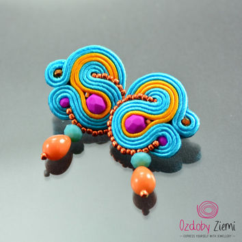 Blue Orange Soutache Earrings - Small Pink Post Earrings - Stud Soutache Earrings - Blue Soutache Earrings - Small Soutache Earrings - OAAK