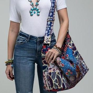 Patchwork boho chic large shoulder bag / Shoulder bag / duffel bag