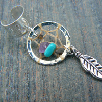 dreamcatcher cross ear cuff turquoise and amethyst in boho gypsy hippie hipster native american and tribal style