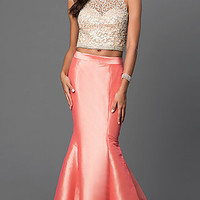 Two Piece Mermaid Floor Length Dress with Bead Embellished Bodice by Dave and Johhny