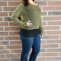 Pretty Rebellious Women's Cropped High Low Sweater Olive Green X-Large