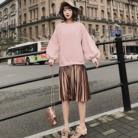 Fashion fake two pieces patchwork long hoodies sweatshirts dress women Lantern sleeve o-neck 2colors S,M,L 2018 new arrival