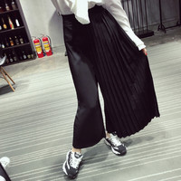 [TWOTWINSTYLE] 2016 Spring Summer Pressure Plait Spliced Chiffon Wide-Legged Loose Pants Women Vintage Trousers New