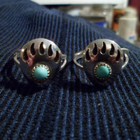 authentic Navajo Native american Southwestern sterling silver sleeping beauty turquoise shadow box bear claw paw ring. Men or women.