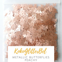 Metallic Butterflies- Peachy