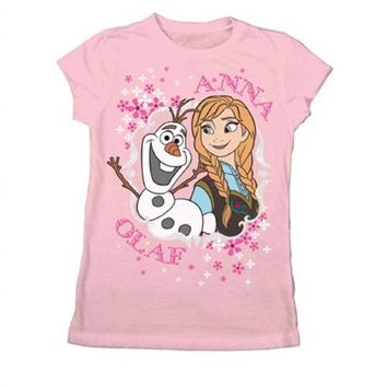 Disney Frozen Anna and Olaf Youth Light Pink T-Shirt
