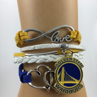 Golden State Warriors Infinity Bracelet Band NBA Charm