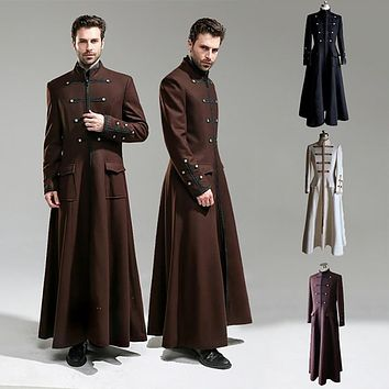 Steampunk Vintage Long Trench Military Frock Coat Men Gothic Suede Jacket Templar Loose Overcoat Victorian Costume For Adult