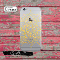 Gold Mandala Henna Tattoo Sparkle Floral Boho Clear Rubber Phone Case For iPhone 6, iPhone 6 Plus, iPhone 5/5s, iPhone 5c Transparent Case