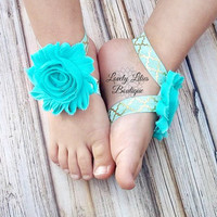Baby Barefoot Sandals .. Mint Sandals .. Toddler Sandals .. Newborn Sandals .. Baby Flower Sandals