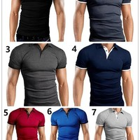 Men's Fashion Slim Fit T-shirts Contrast Polo Shirt Polo Tee Tops [10312514563]