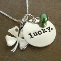 Lucky Charms, Shamrock/ Four-Leaf Clover Hand Stamped Sterling Silver Green Pearl Necklace LUCKY YOU by E. Ria Designs