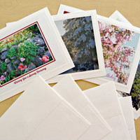 """CUSTOM Handmade Greeting Card set, Assorted Photos, All-Occasion, Blank inside, with envelopes AND optional """"Forever"""" stamps"""