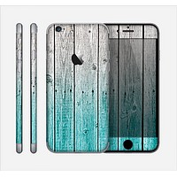 The Trendy Teal to White Aged Wood Planks Skin for the Apple iPhone 6