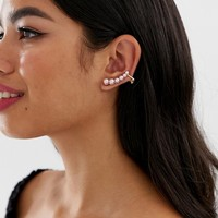 ASOS DESIGN ear crawlers in pink pearl | ASOS