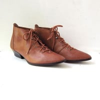 80s brown leather ankle boots. leather booties. granny boots.