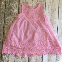 """The """"Camilla"""" Pink Lace Baby + Toddler Dress"""