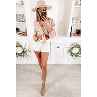 Taking Sides Tie Front Long Sleeve Top (Blush)
