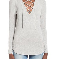 Leith Lace-Up Long Sleeve Top | Nordstrom