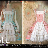 Lolita goth rococo aristocrat canary bridal song royal tiered dress JIJ017