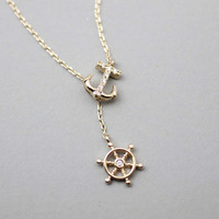 Anchor Ship Wheel lariat Necklace ,Y Necklace,Beach necklace, ocean necklace, (gold / silver)