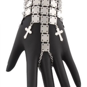 Silvertone Cross and Squares Finger Ring Hand Chain Bracelet