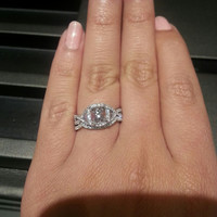Cubic Zirconia Bridal Set, Cushion Cut Single Halo with Accented Split Band