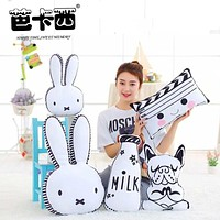 40CM 65CM Rabbit Face Plush Pillow Dog Milk Bottle Plush Cushion Emoji Pillow Chair Cushion Home Sofa Decoration Kids Toy